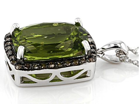 Green peridot rhodium over silver pendant with chain 6.01ctw