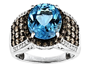 Swiss Blue Topaz Rhodium Over Sterling Silver Ring 6.13ctw