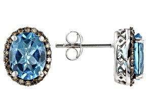 Swiss Blue Topaz Rhodium Over Sterling Silver Earrings 4.17ctw