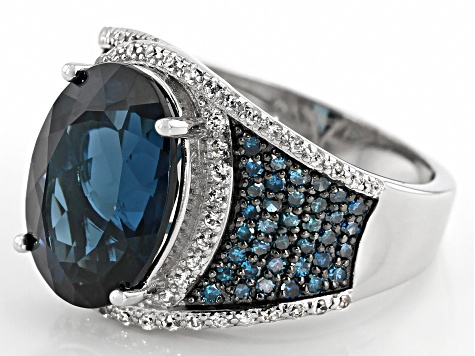 London blue topaz rhodium over silver ring 7.20ctw