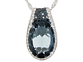 London Blue Topaz Rhodium Over Silver Pendant With Chain 6.63ctw
