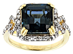 Blue topaz 18k yellow gold over silver ring 4.88ctw