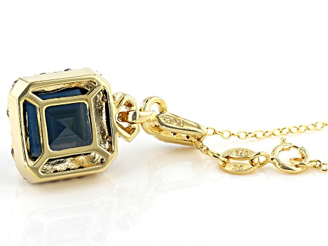 Blue topaz 18k yellow gold over silver pendant with chain 4.85ctw