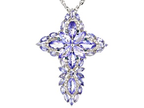 Blue Tanzanite Rhodium Over Silver Pendant With Chain 6.71ctw
