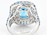 Blue Topaz Rhodium Over Silver Ring 6.35ctw