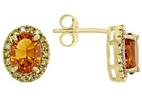 Orange Madeira Citrine 18k Gold Over Sterling Silver Stud Earrings 2.15ctw