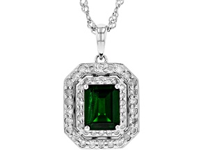 Green chrome diopside rhodium over silver pendant with chain 2.62ctw