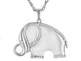 White Zircon Rhodium Over Sterling Silver Elephant Pendant With Chain .35ctw