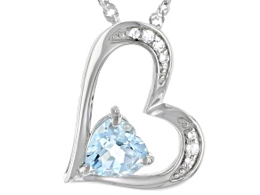 Blue Topaz Rhodium Over Silver Mothers Pendant With Chain .30ctw