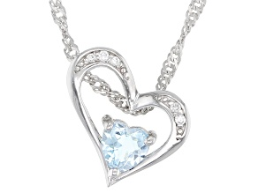 Blue Topaz Rhodium Over Silver Children's Pendant With Chain .30ctw