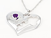 Purple Amethyst Rhodium Over Silver Pendant With Chain .36ct