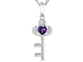 "Purple Amethyst Rhodium Over Silver ""Key Of My Heart"" Pendant With Chain .17ct"