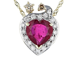 Red Mahaleo®Ruby Mothers 10k Yellow Gold Pendant With Chain 2.47ctw