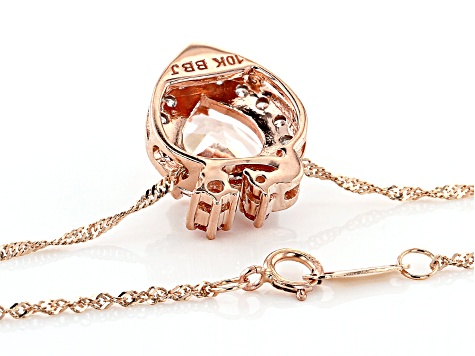 Pink Morganite 10k Rose Gold Pendant With Chain 1.69ctw