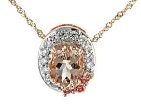 Peach Morganite 10k Rose Gold Pendant With Chain 1.70ctw