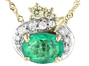 Green Emerald 10k Gold Pendant With Chain 1.24ctw