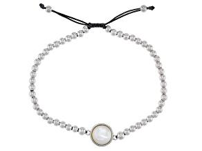 White Mother-Of-Pearl Rhodium Over Sterling Silver Adjustable Bracelet