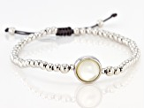 White Mother-Of-Pearl Rhodium Over Sterling Silver Adjustable Bracelet