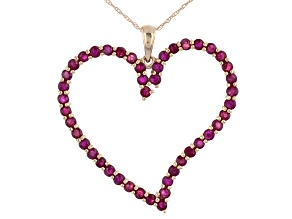 Red Mahaleo® Ruby 14k Yellow Gold Heart Pendant With Chain 2.29ctw