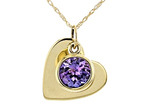 Blue Tanzanite 14k Yellow Gold Children's Heart Pendant With Chain. 0.26ct.