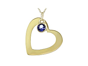 "Blue Tanzanite 14K Yellow Gold Heart Pendant With Chain 0.72"" L X 0.73"" W."