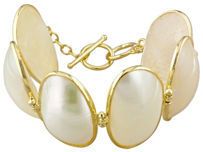 White Mother Of Pearl 18k Yellow Gold Over Bronze Bracelet