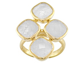 Rainbow Moonstone 18k Yellow Gold Over Bronze 4-Stone Ring