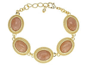Peach Moonstone 18k Gold Over Bronze Bracelet