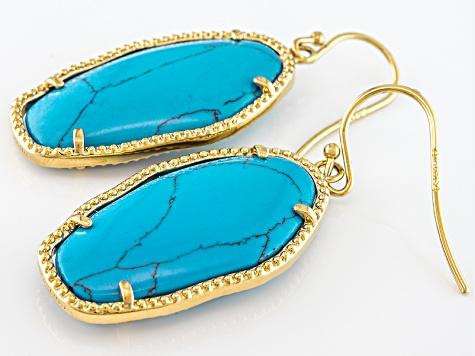 mda312  Blue Magnesite 18k Yellow Gold Over Bronze Dangle Earrings - MDA312 ...