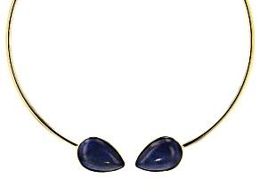 Blue Lapis Lazuli 18k Yellow Gold Over Bronze Hinged Collar Necklace
