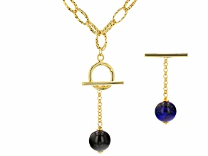 14mm Blue Lapis Lazuli 18k Yellow Gold Over Bronze Charm Necklace