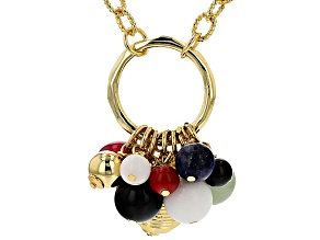 Multi-Gem 18k Yellow Gold Over Bronze Dangle Charm Necklace