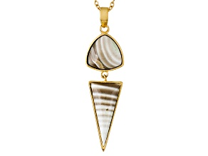Brown Banded Chalcedony 18k Gold Over Bronze Pendant With Chain