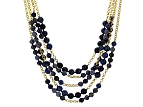 Blue Dumortierite 18k Yellow Gold Over Bronze Necklace