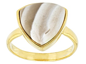 Brown Banded Chalcedony 18k Yellow Gold Over Bronze Ring