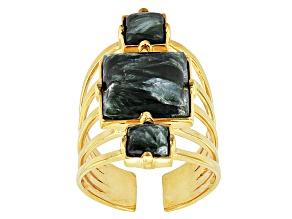 Green Seraphinite 18k Yellow Gold Over Bronze Ring