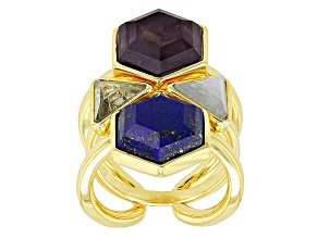 Blue Topaz, Aquamarine And Amethyst 18k Yellow Gold Over Bronze Ring And Guard