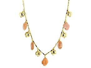 Orange Sunstone 18k Yellow Gold Over Bronze Charm Necklace