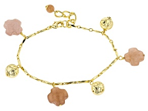 Orange Sunstone 18k Yellow Gold Over Bronze Charm Bracelet