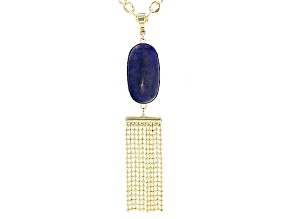 Blue Lapis 18k Yellow Gold Over Bronze Enhancer With Chain