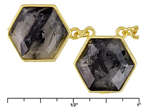 Gray Rutilated Quartz 18k Yellow Gold Over Bronze Necklace 25.52ctw