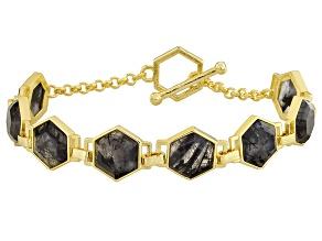 Gray Rutilated Quartz 18k Yellow Gold Over Bronze Bracelet 25.52ctw
