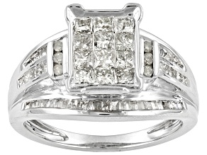 Womens Ring Diamond 1ctw Princess Cut Baguette Round 10k White Gold