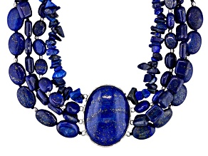Lapis Oval, Rectangle, Round And Fancy Cut Chip Sterling Silver Bead Station Necklace