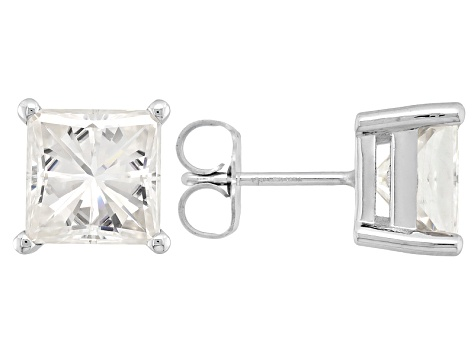 Moissanite 14k White Gold Stud Earrings 4.20ctw D.E.W.