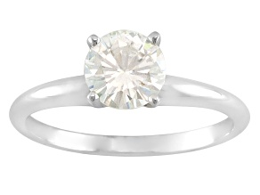 Moissanite 14k White Gold Solitaire Ring 1.20ct DEW