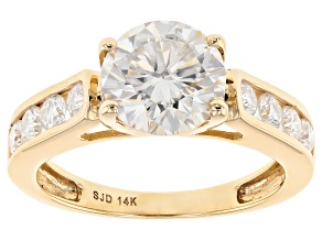 Moissanite 14k Yellow Gold Ring 2.38ctw DEW