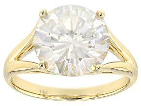 Moissanite 14k Yellow Gold Ring 4.56ct DEW.