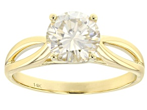 Moissanite 14k Yellow Gold Ring 1.50ct DEW.