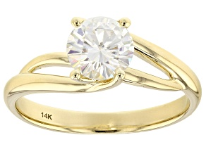Moissanite 14k Yellow Gold Ring 1.00ct DEW.